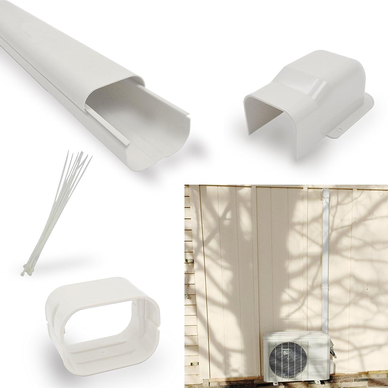 Jeacent 4 W 7.5'Ft Mini Split PVC AC Line Set Cover Kit for Central Air Conditioner Heat Pump Jeacent Inovations
