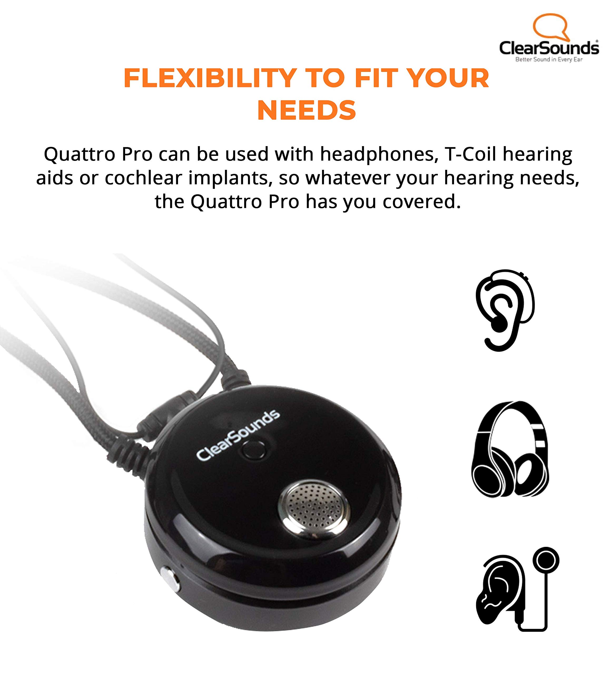 ClearSounds CSQTPRO Quattro Pro Portable Assistive Listening System - Bluetooth Neckloop and Removable Omni-Directional Microphone - T-Coil Hearing Aid Compatible by ClearSounds (Image #7)