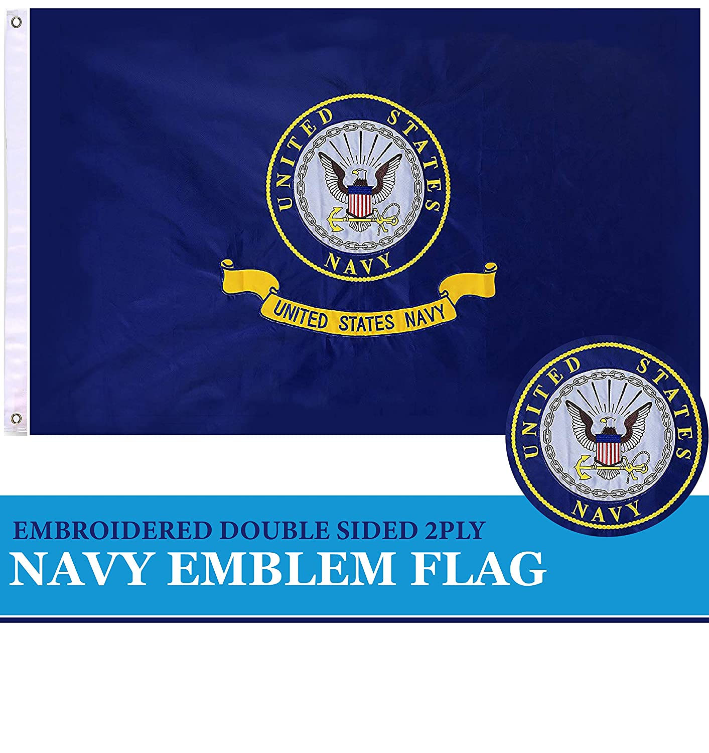 G128 - US Navy Flag Navy Emblem Navy Seal Logo Double Sided Embroidered 2x3 ft Flag with Brass Grommets