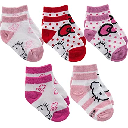66f832717 Amazon.com: Hello Kitty Sports Girl's Socks (Pack of 5), Pink/White ...