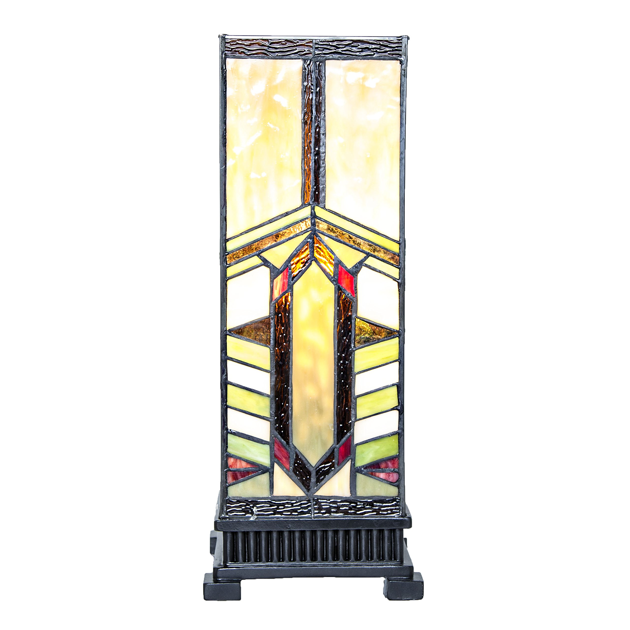17.25'' H Stained Glass Mission Style Stone Mountain Pillar Table Lamp