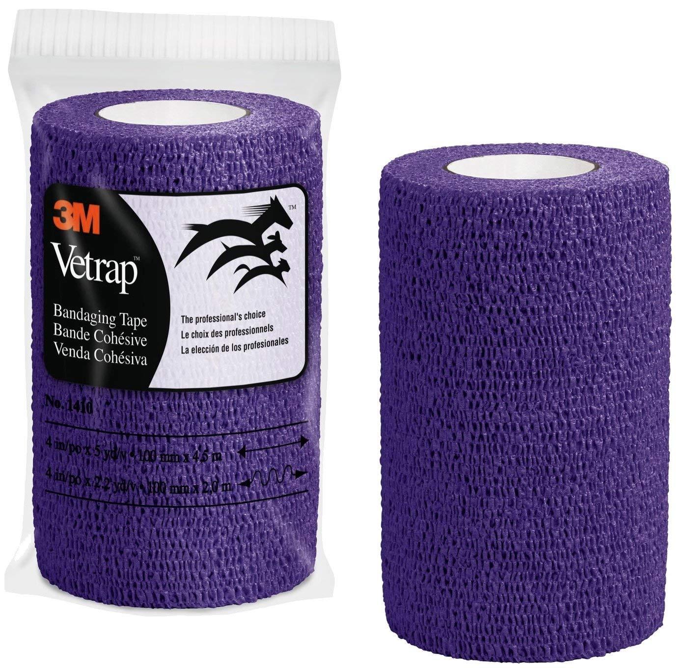 3M Vetrap 4'' Bright Color Bandaging Tape, 4''x 5 Yards, 3M Box, 12 Roll Case (Purple) by 3M Vetrap