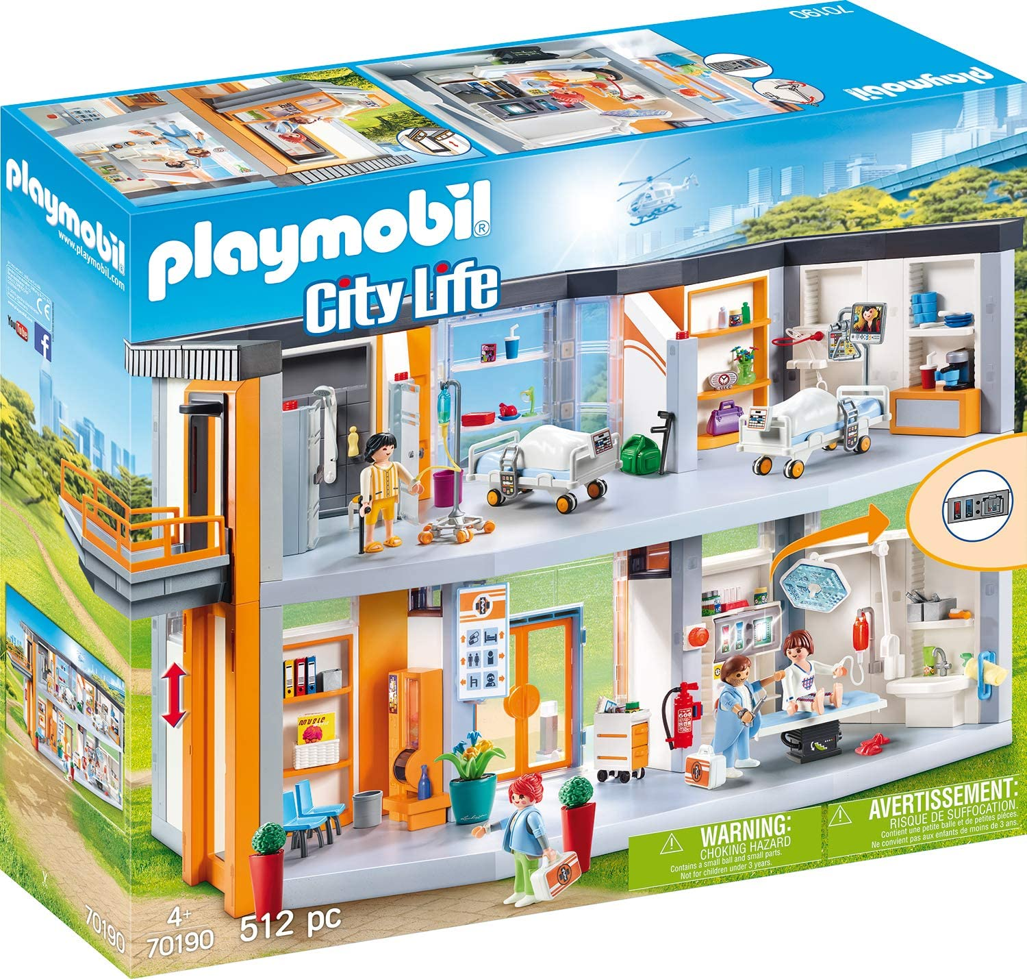 PLAYMOBIL City Life Gran Hospital, A partir de 4 Años (70190)