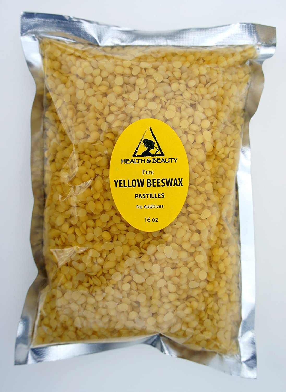 Yellow Beeswax Bees Wax Organic Pastilles Beads Premium Prime Grade A 100% Pure 16 oz, 1 LB, 454 g H&B Oils Center Co.