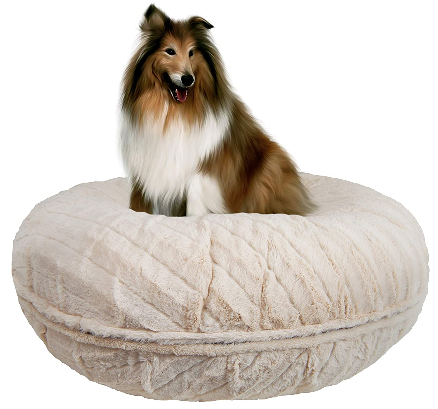 Bessie and Barnie Signature Natural Beauty Extra Plush Faux Fur Bagel Pet Dog Bed Multiple Sizes