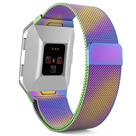 MoKo Fitbit Ionic Banda de reloj, pulsera de malla de acero inoxidable Milanese con bloqueo