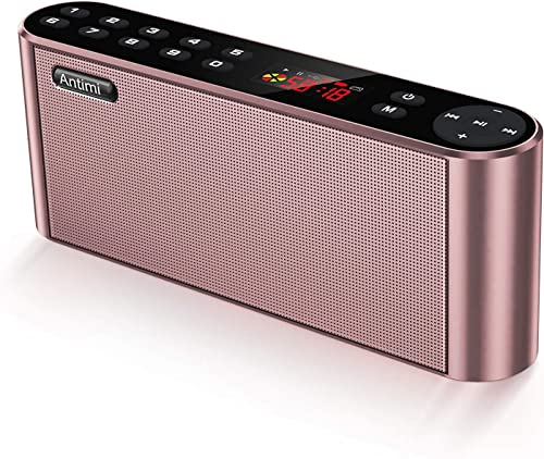 Antimi Bluetooth Speakers with FM Radio MP3 Player Stereo Portable Wireless Speaker Dual Drivers with HD Sound, Built-in Microphone, High Definition Audio and Enhanced Bass Pink