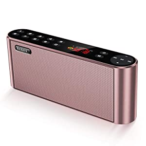 Antimi Bluetooth Speakers with FM Radio MP3 Player Stereo Portable Wireless Speaker Dual Drivers with HD Sound, Built-in Microphone, High Definition Audio and Enhanced Bass (Pink)