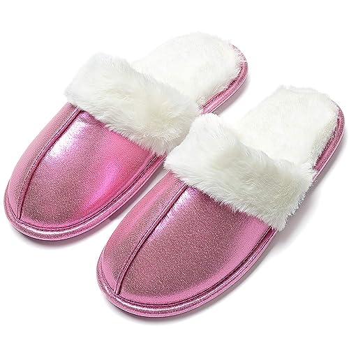 Damen-Hausschuhe-Plüsch Pantoffeln Latschen Indoor Slipper mit Kunstfell 36-40*