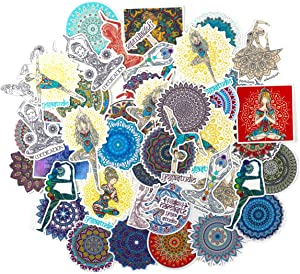 Yoga Girl and Colorful Mandala Flowers Stickers (50 PCS) - Cute, Small, Beautiful, Waterproof and Durable/Delicate Decals for Bullet Journal Scrapbook Planners DIY Craft Water Bottles, Laptops, Phone