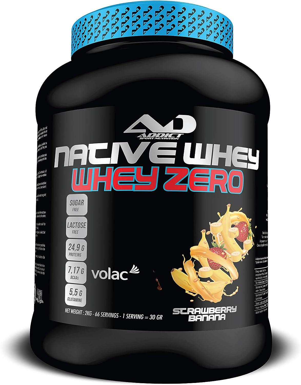 ADDICT SPORT NUTRITION AD - Proteína - Native Whey Zero - 100% Proteína nativa - 2 Kilos - Sabor Strawberry Banana