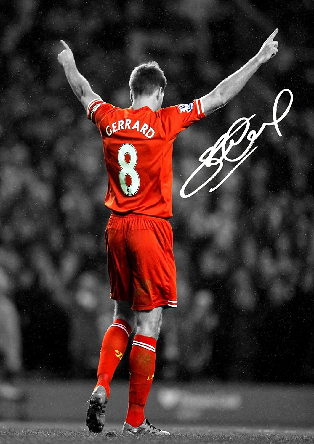 Signed 12x8 Black Soccer Steven Gerrard Liverpool FC Autographed Photo Photograph Picture Frame Gift A4