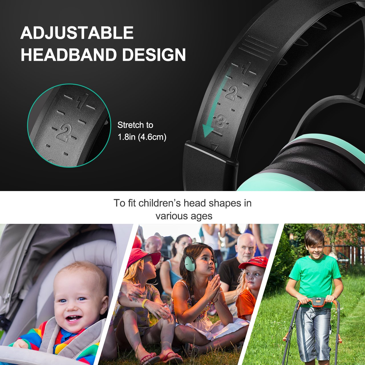 Mpow [Upgraded] Toddler Ear Protection Noise Cancelling Headphones for Kids, NRR 22dB Adjustable & Soft Kids Ear Protection for Shooting Range Hunting, Hearing Protection for Kids Toddlers Children by Mpow (Image #2)