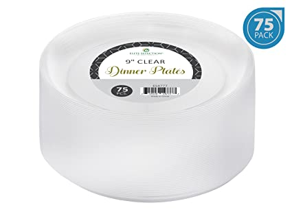 Elite Selection 9 Inch Dinner Disposable Clear Hard Plastic Party Plates 75 Count  sc 1 st  Amazon.com & Amazon.com: Elite Selection 9 Inch Dinner Disposable Clear Hard ...