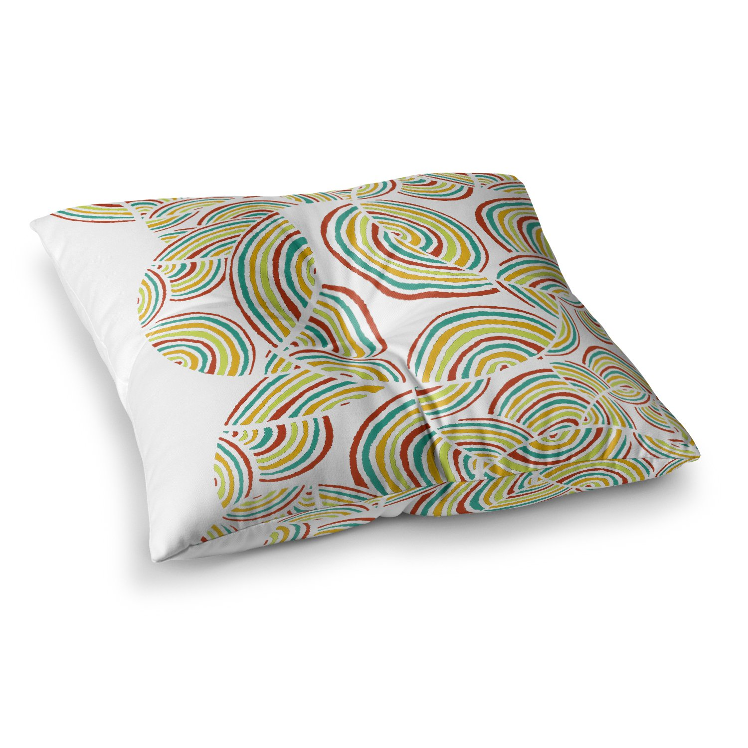 23 x 23 Square Floor Pillow Kess InHouse Pom Graphic Design Rainbow Sky