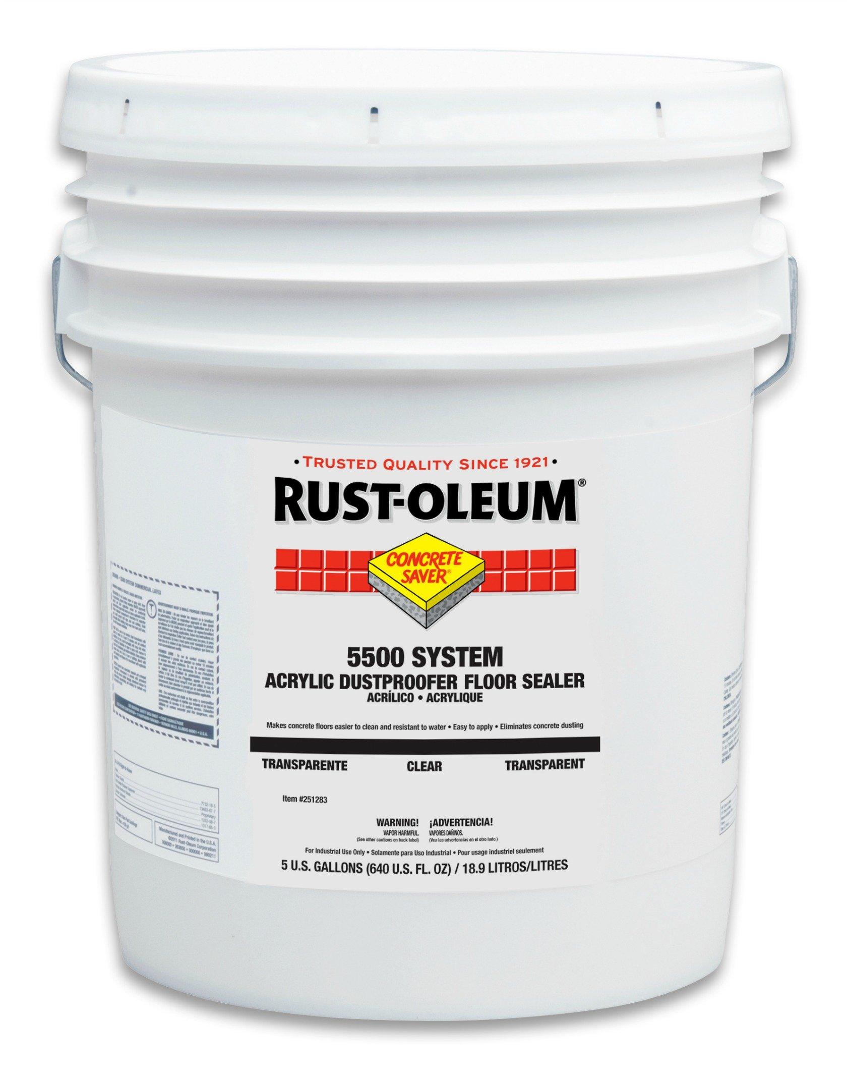 Rust-Oleum 251283 Concrete Saver 5500 System Acrylic Dust Proofer Floor Sealer, 5-Gallon, Clear