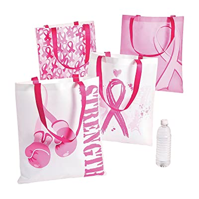 Large Pink Ribbon Reusable Tote Bags (set of 12) Breast Cancer Awareness Supplies: Shoes