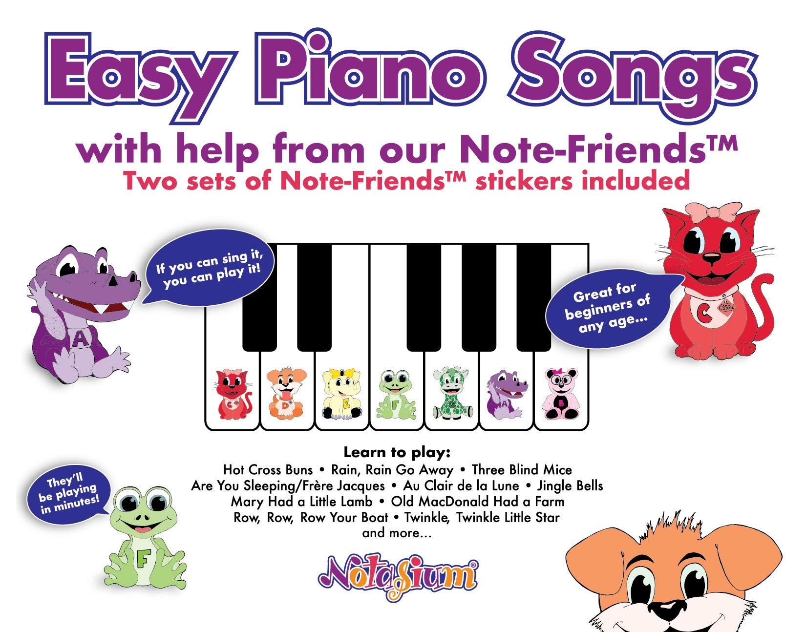 Easy Piano Songs book for kids with stickers: LLC Notasium