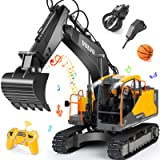 Volvo RC Excavator 3 in 1 Construction Truck Metal Shovel and Drill 17 Channel 1/16 Scale Full Functional with 2 Bonus Tools
