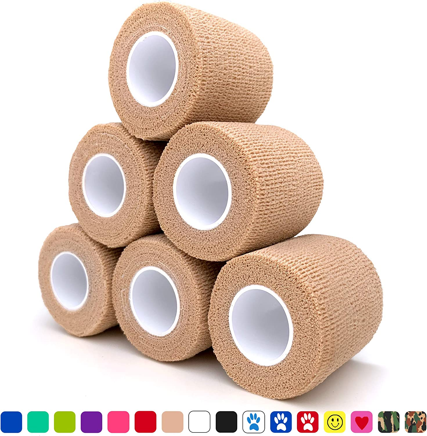 "Cohesive Bandage 2"" x 5 Yards, 6 Rolls, Self Adherent Wrap Medical Tape, Adhesive Flexible Breathable First Aid Gauze Ideal for Stretch Athletic, Ankle Sprains & Swelling, Sports, Tan"