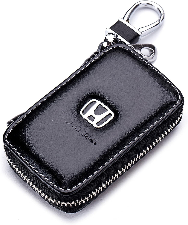 Car Case Remote Key Bag - Leather Black Car Keychain Wallet Bag Case for Key Chains Key Rings Holder for Honda Cars