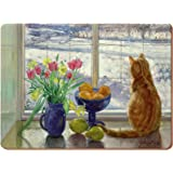 Creative Tops Set of 6 Snowy Cat Premium Cork-Backed Placemats, Wood, Multi-Colour, 3x29x22 cm