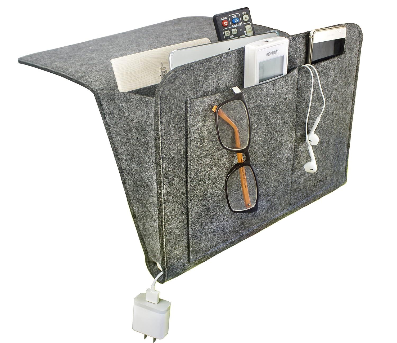 Felt Bedside Caddy Bedside Storage Organizer Bed Caddy for Dorm Room, Bedroom, Hospital, Bunk Beds, Headboards- with 4 Pockets, Black