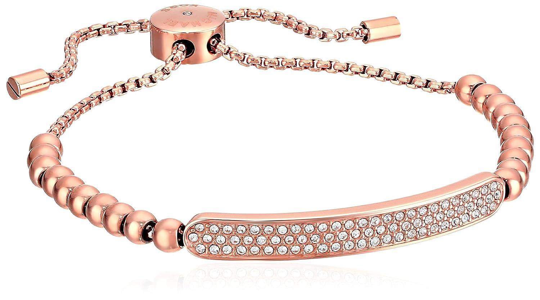 217433687c7bb Amazon.com  Michael Kors Logo Plaque Adjustable Rose Gold Pave Tone Beaded  Bangle Bracelet  Jewelry