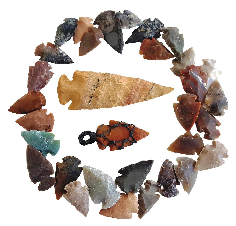 Arrowhead Lot, 32 pcs Indian Agate Stone Arrowhead Set by Ashkii by Arrowheads by Ashkii (Image #1)
