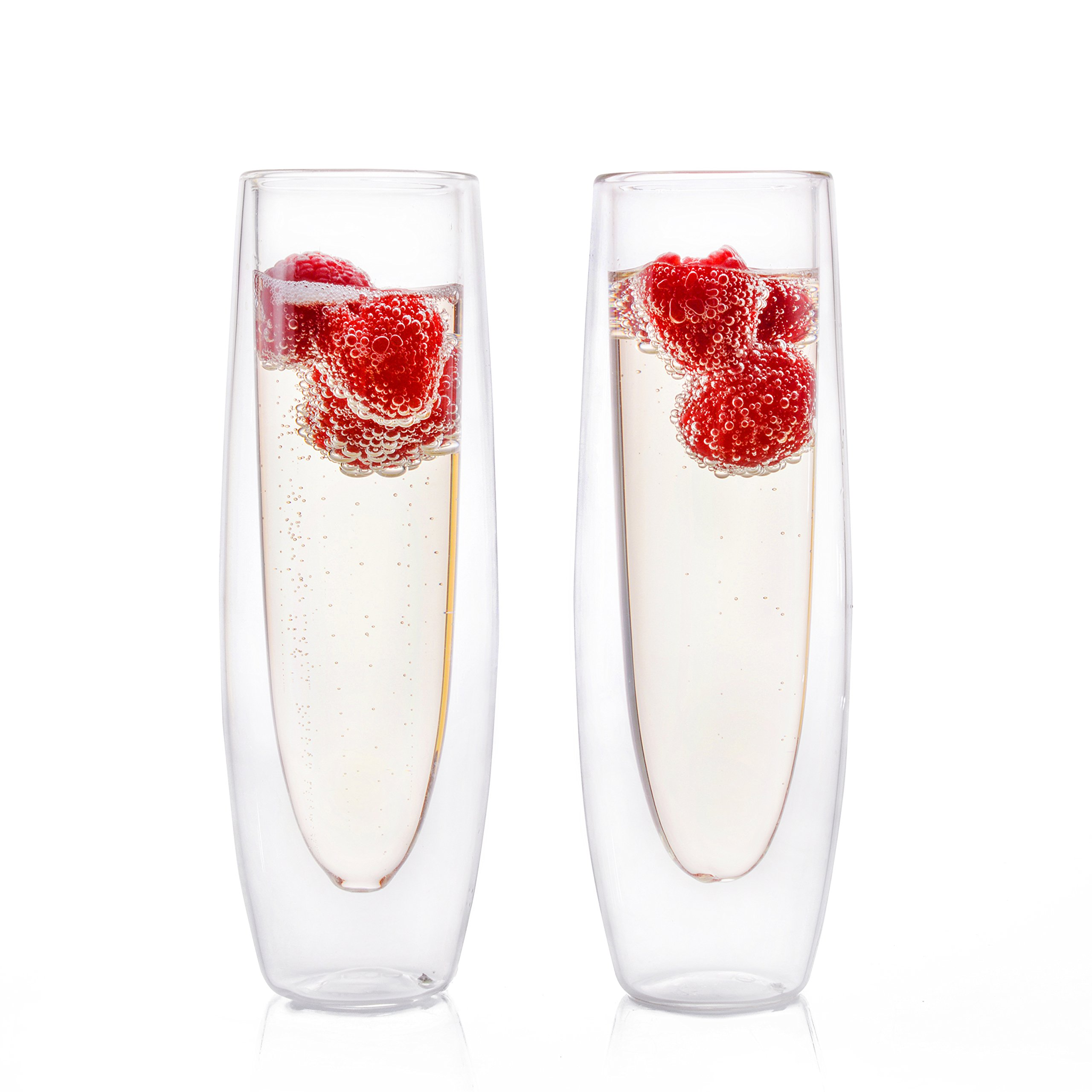Eparé Champagne Flutes, Insulated Stemless Glass Set(5 oz, 150 ml) –Flute Glass for Brunch Wine & Wedding Cocktails – Reusable Party Cups -2 Glasses