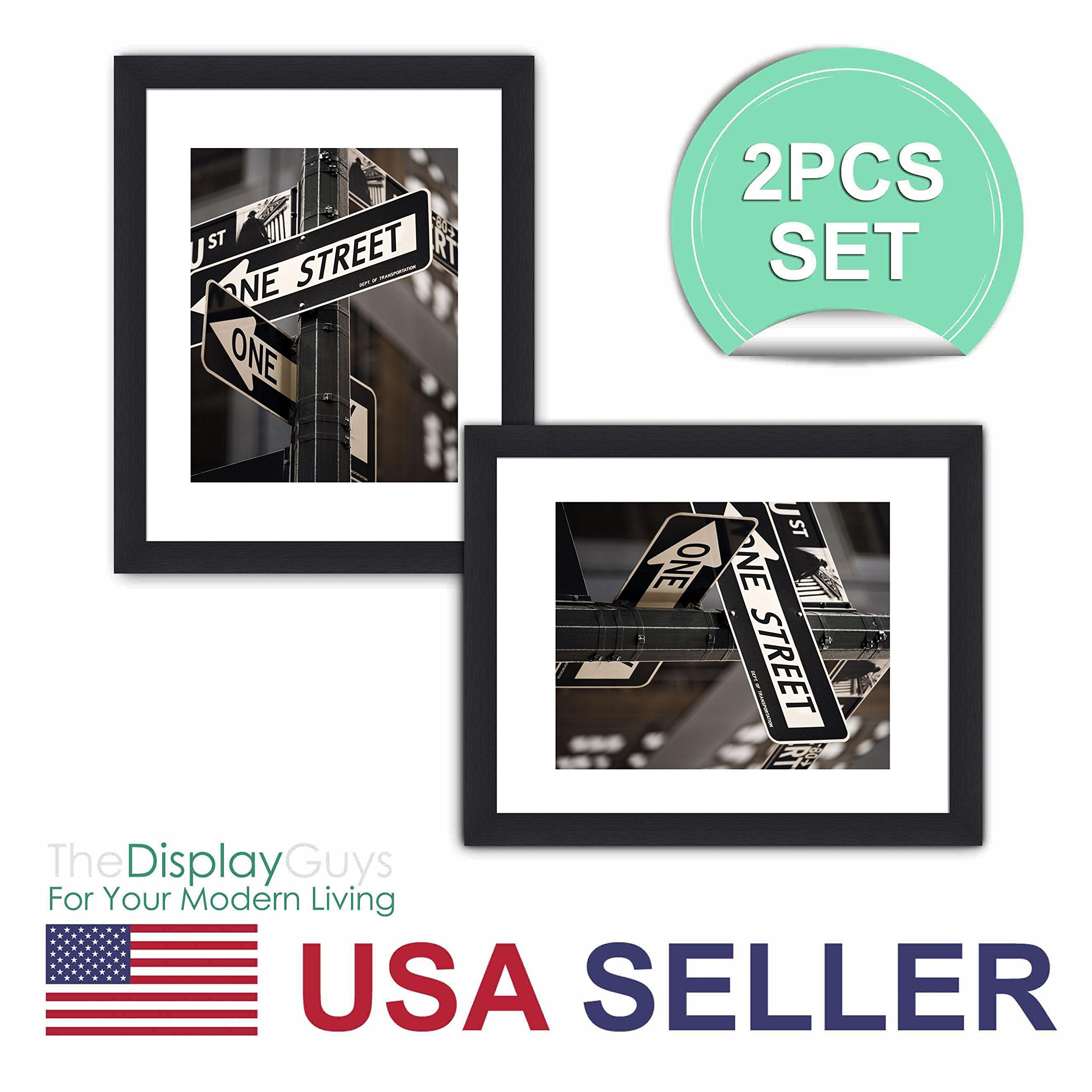 The Display Guys ~ 2 sets of 16x20 inches Black Wooden Photo Frame, Tempered Glass, Luxury Made Affordable, with 1pc White Mat Board for 11''x14'' Picture