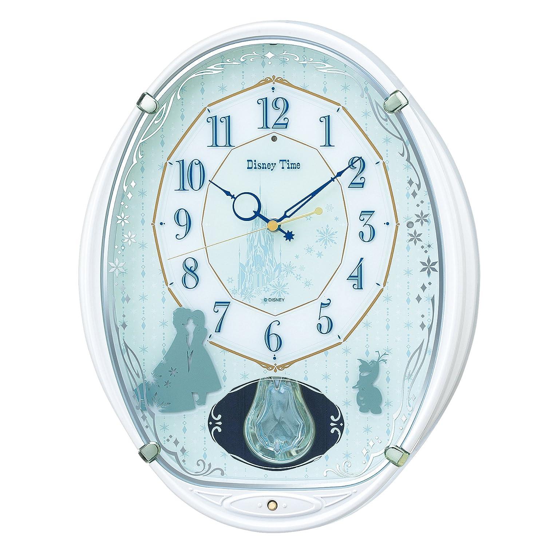 セイコー クロック 掛け時計 アナと雪の女王 電波 アナログ 5曲 メロディ 飾り振り子 Disney Time ディズニータイム 白 パール FW578W SEIKO B017R5S7IM