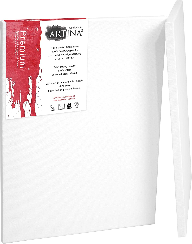 40x60cm Artina Premium Leinwand auf Keilrahmen 380g//m/² 2er Set