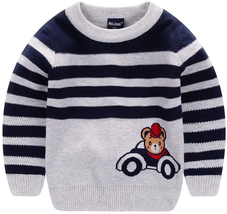 AUIE SAOSA Little Kids Winter Double Cotton Knit Cartoon Bear Warm Pullover Sweater