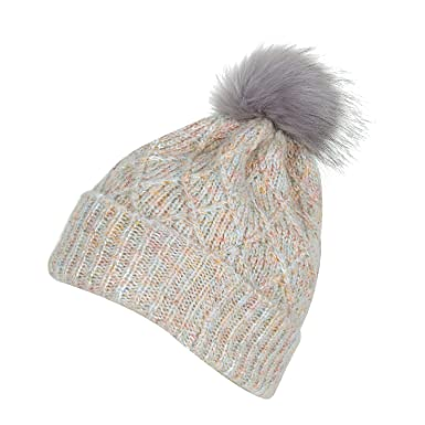 7d495d3548a PULI Womens Girls Winter Hat Wool Knitted Beanie With Large Pom Pom Cap Ski  Snowboard Hats Bobble Beige  Amazon.co.uk  Clothing