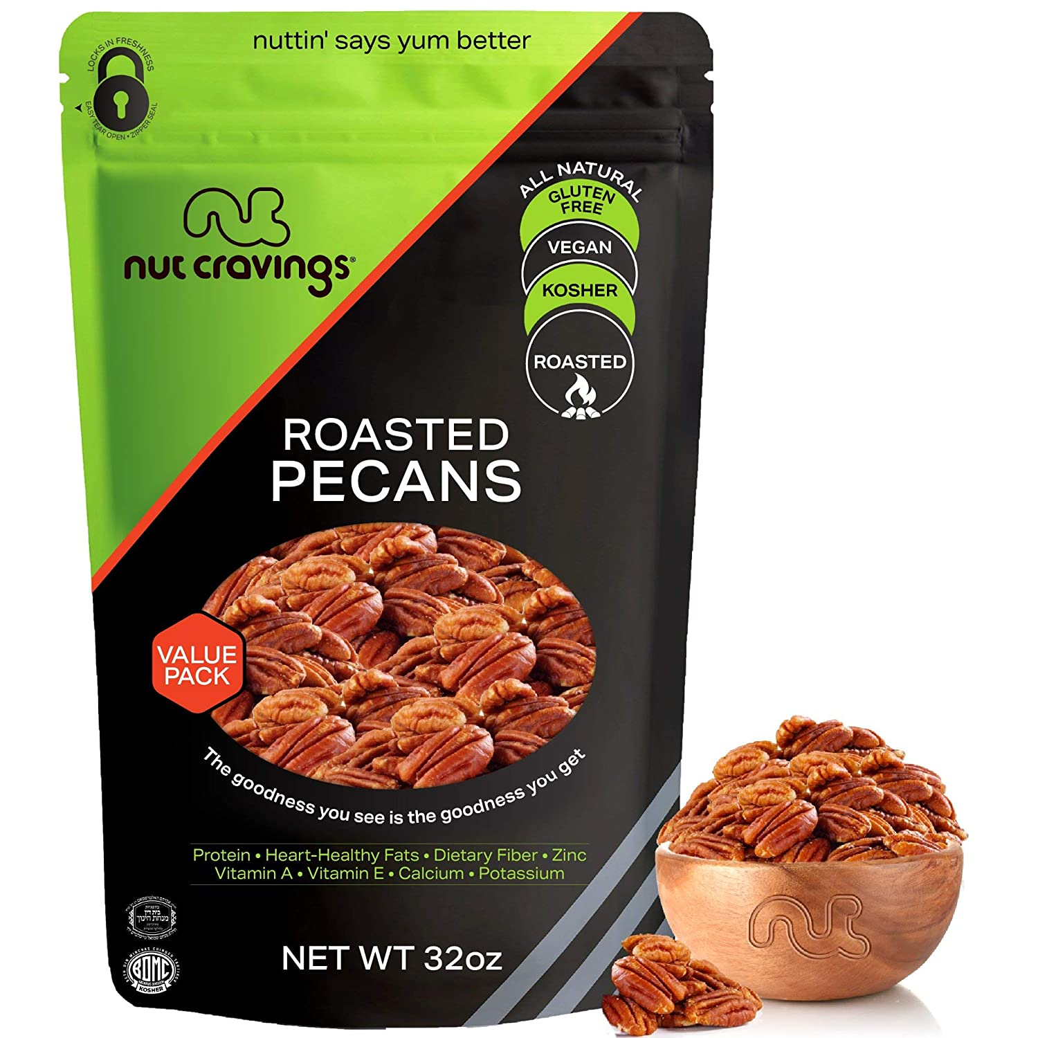 Georgia Pecan Halves, Roasted & Unsalted, No Shell (32oz - 2 Pound) Packed Fresh in Resealable Bag - Nut Trail Mix Snack - Healthy Protein Food, All Natural, Keto Friendly, Vegan, Kosher