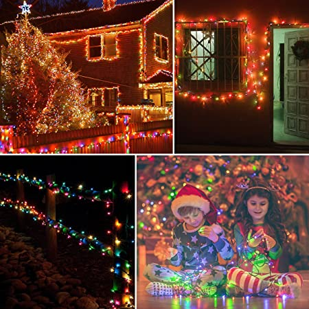 Different examples of how the Vmanoo 72ft Multicolor Solar Christmas Lights can be used