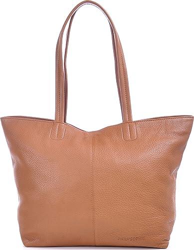 PHIL+SOPHIE, Cntmp, Damen Handtaschen, Shopper, Trend Bags, Henkeltaschen, Leder Taschen, Hellbraun, Cognac, 45x29x15 cm (B x H x T)