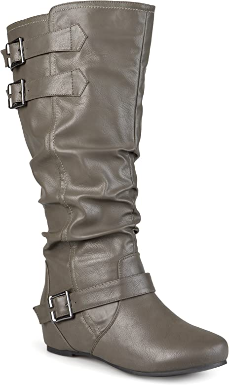78ed21be5b Journee Collection Womens Regular Sized and Wide-Calf Buckle Slouch  Low-Wedge Boots Grey