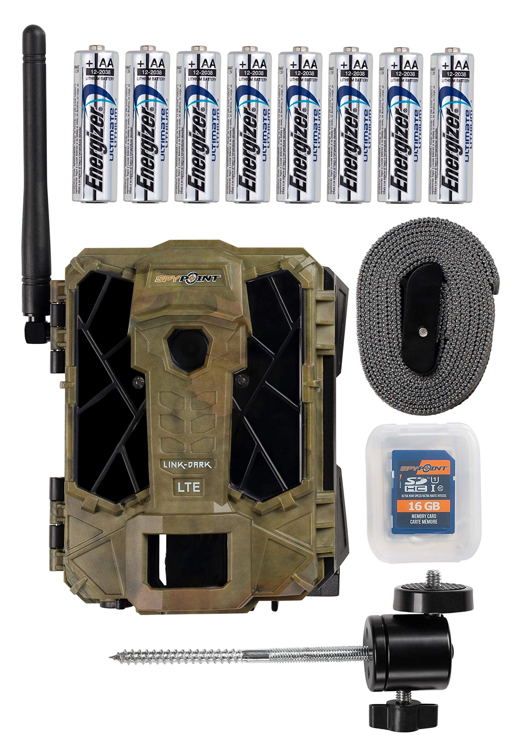 Spypoint Link Dark 4G LTE Cellular Trail Camera with Batteries, SD Card and Mount (Verizon LTE)
