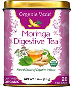 Organic Veda® Moringa Digestive 28 Tea Sachets - Organic, Pure and All Natural Herbs Raw Organic Super Food Supplement. Non GMO. Gluten FREE. Made in Health USA FDA Registered Facility.