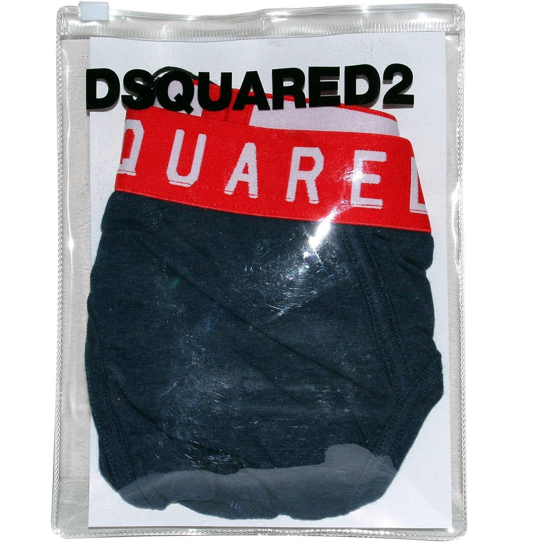 Navy Melange//red DSQUARED2 Contrast Logo Mens Brief