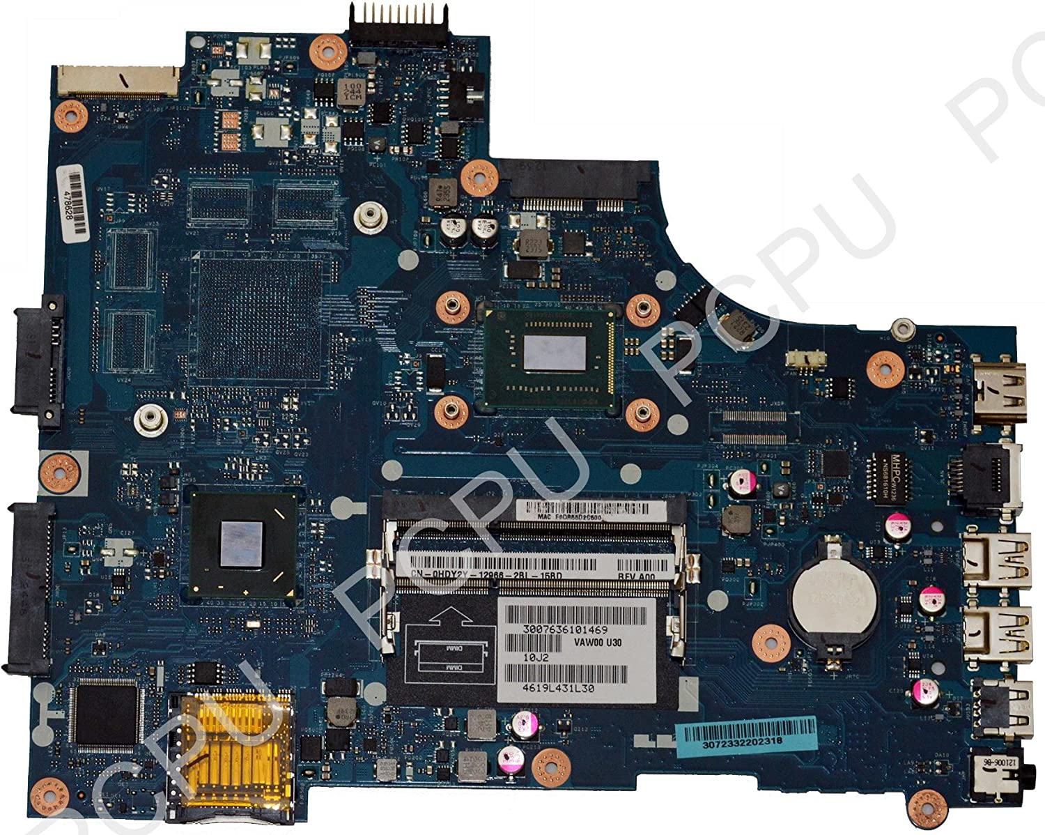 HDY2Y Dell Inspiron 15 3521 Laptop Motherboard w/Intel i3-3217u 1.8Ghz CPU, VAW00, LA-9104P