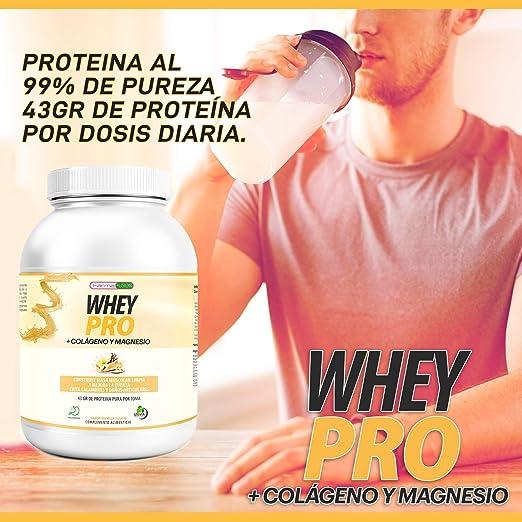 100% Whey Protein con Colágeno y Magnesio   43Gr. de Proteína Pura por toma 0% Azúcares   Aumenta el crecimiento muscular y tonifica los músculos   ...