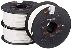 AmazonBasics PLA 3D Printer Filament, 1.75mm, White, 1 kg Spool, 3 Spools