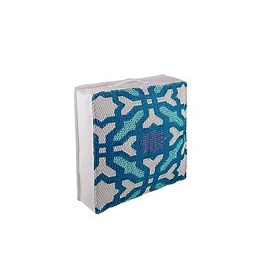 "Fab Habitat Outdoor Floor Cushion, UV & Weather Resistant, Recycled Plastic - Seville - Multicolor Blue (20"" x 20"") : Garden & Outdoor"