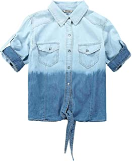 868b8e06697386 Bienzoe Young Girl's Gradient Knotted Button Down Denim Short Sleeve Blouse