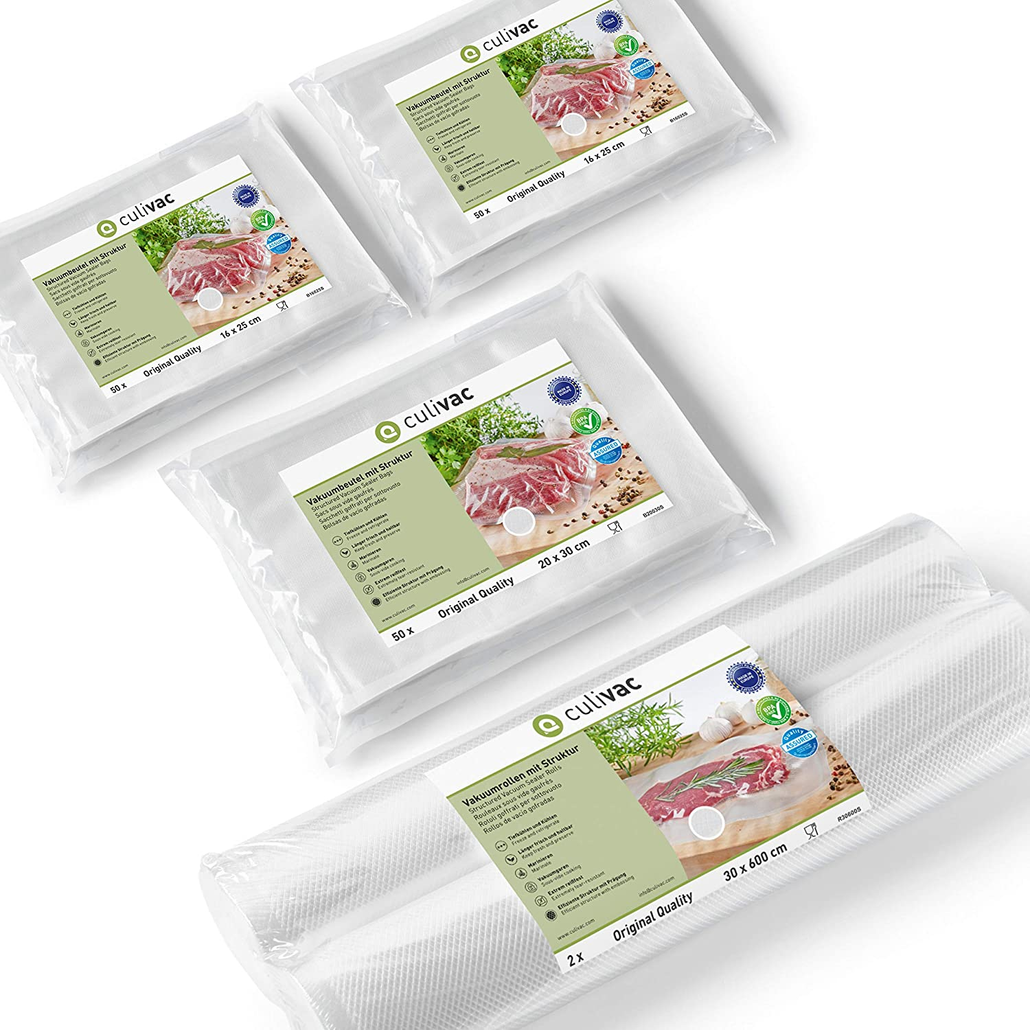 culivac Vacuum Food Sealer Bags 100 pcs 16x25cm // 50 pcs 20x30cm // Vacuum Food Sealer Rolls 2 pcs 30x600cm - Original Set 1
