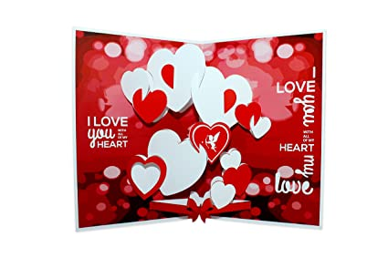 suridblue love pop up 3d greeting card amazon in office products