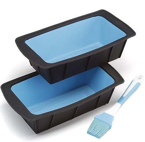 Juego de 2 moldes de silicona flexibles para pan, 25 cm, color negro y